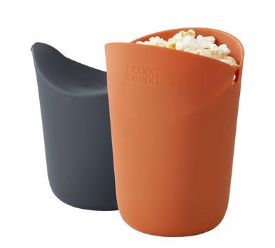 Cuisine - Ustensiles de cuisines - Appareil à popcorn M-Cuisine / Lot 2 cornets pour micro-ondes - Joseph Joseph - Orange & gris - Silicone