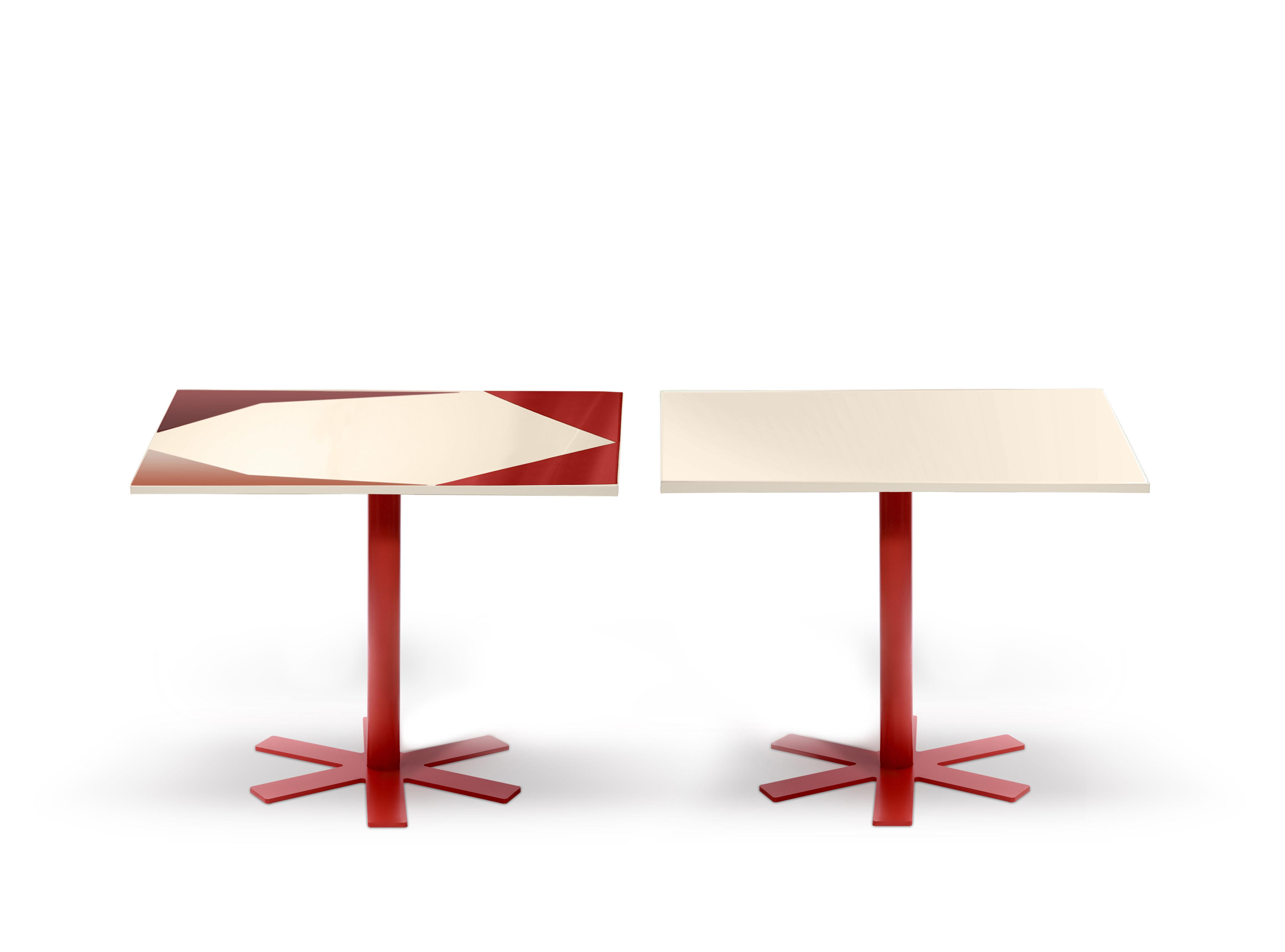 table parrot 90 x 90 cm unie cr me pied rouge petite friture. Black Bedroom Furniture Sets. Home Design Ideas