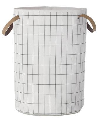 Déco - Paniers et petits rangements - Panier Grid Large / Ø 40 x H 60 cm - Ferm Living - Quadrillage / Noir & blanc - Coton