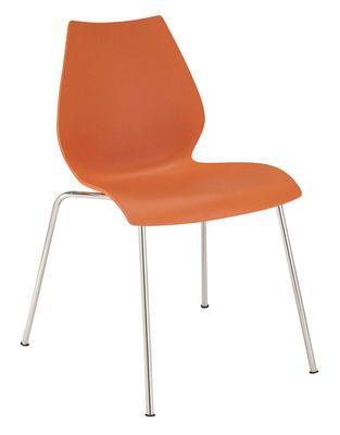 Chaise empilable maui plastique pieds m tal orange kartell for Chaise empilable plastique