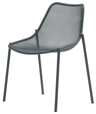 Round Stacking chair - Metal Antic Iron by Emu | Made In Design UK