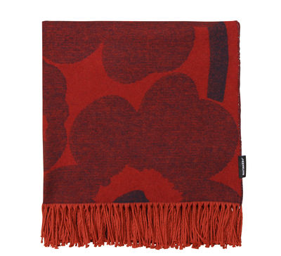 Plaid Unikko / 130 x 200 cm - Marimekko rouge sombre en tissu