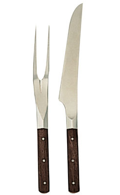 Kitchenware - Kitchen Equipment - Finlandia Carving service - Roast knife and fork carving set by Serafino Zani - Wood & Shiny forged steel - Rosewood, Stainless steel