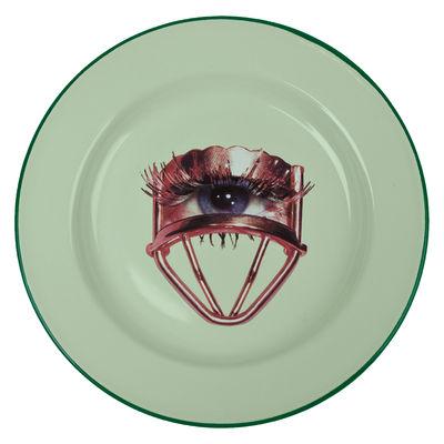 Assiette Toiletpaper Œil Métal Seletti vert d'eau en métal