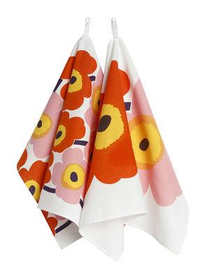Torchon Pieni Unikko / Set de 2 - Marimekko rose,jaune,orange en tissu