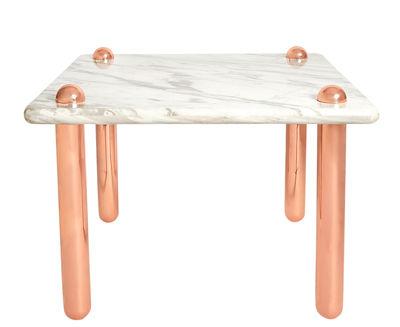 Mobilier - Tables - Table Ultra Side / 90 x 90 x H 71 cm - Jonathan Adler - Marbre blanc / Rose doré - Acier, Marbre, Or
