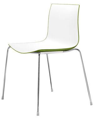 Mobilier - Chaises, fauteuils de salle à manger - Chaise empilable Catifa 46 / Coque bicolore - Arper - Blanc / Vert - Acier chromé, Polypropylène
