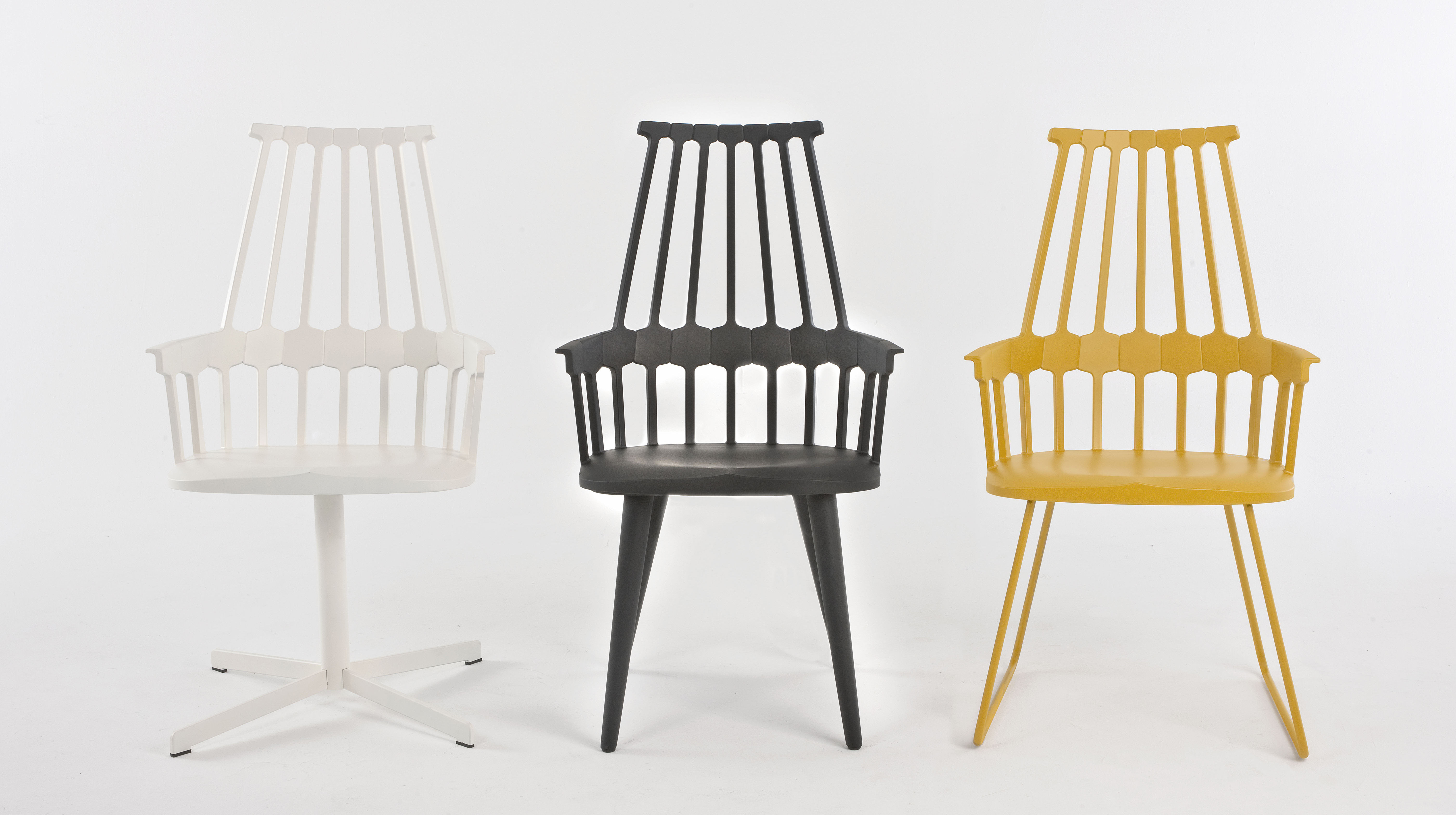 fauteuil pivotant comback polycarbonate pied m tal noir pieds noirs kartell. Black Bedroom Furniture Sets. Home Design Ideas