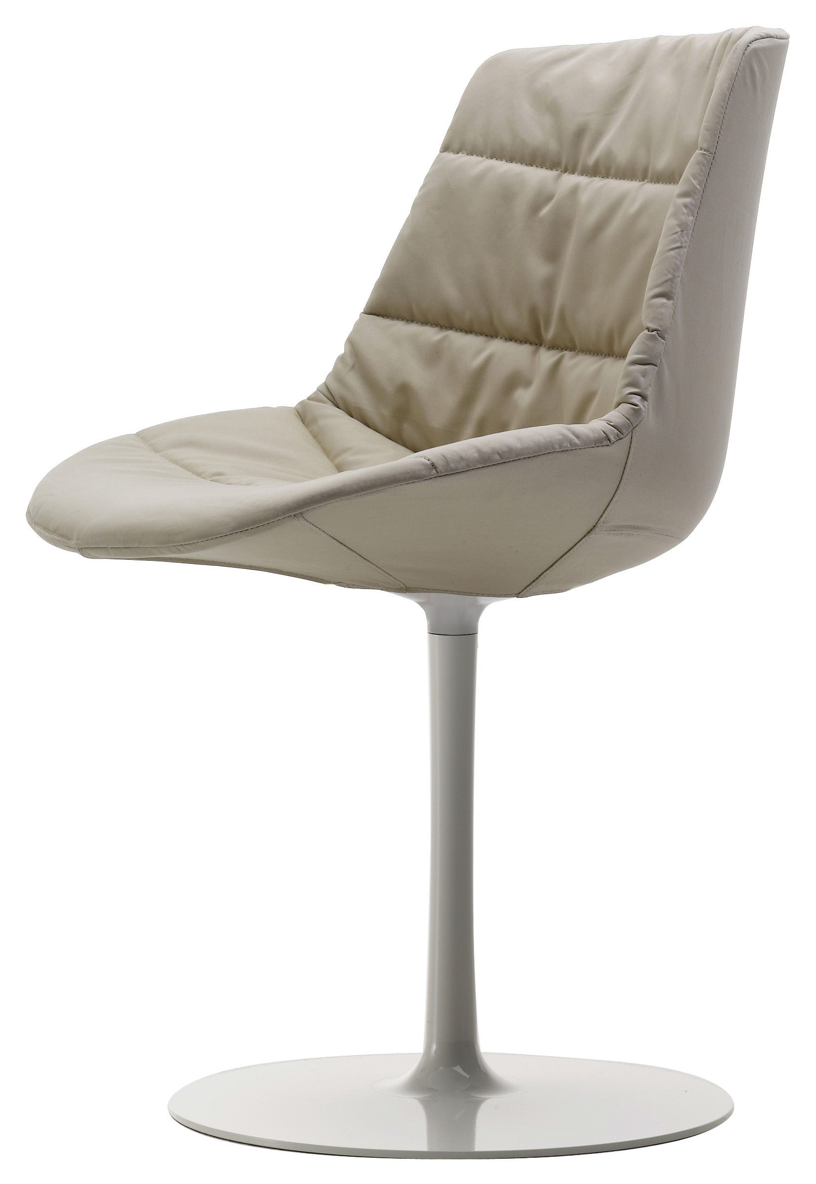 chaise rembourr e flow textile pied central tissu beige londra pi tement blanc mdf italia. Black Bedroom Furniture Sets. Home Design Ideas