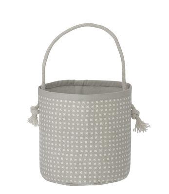 Déco - Pour les enfants - Panier Grey Cross / Mini - H 16 cm - Ferm Living - Gris / Blanc - Coton