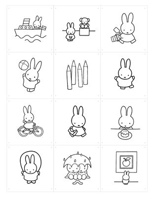 Foto Pannello decorativo Miffy - da colorare / 60 x 80 cm di ixxi - Bianco,Nero - Carta