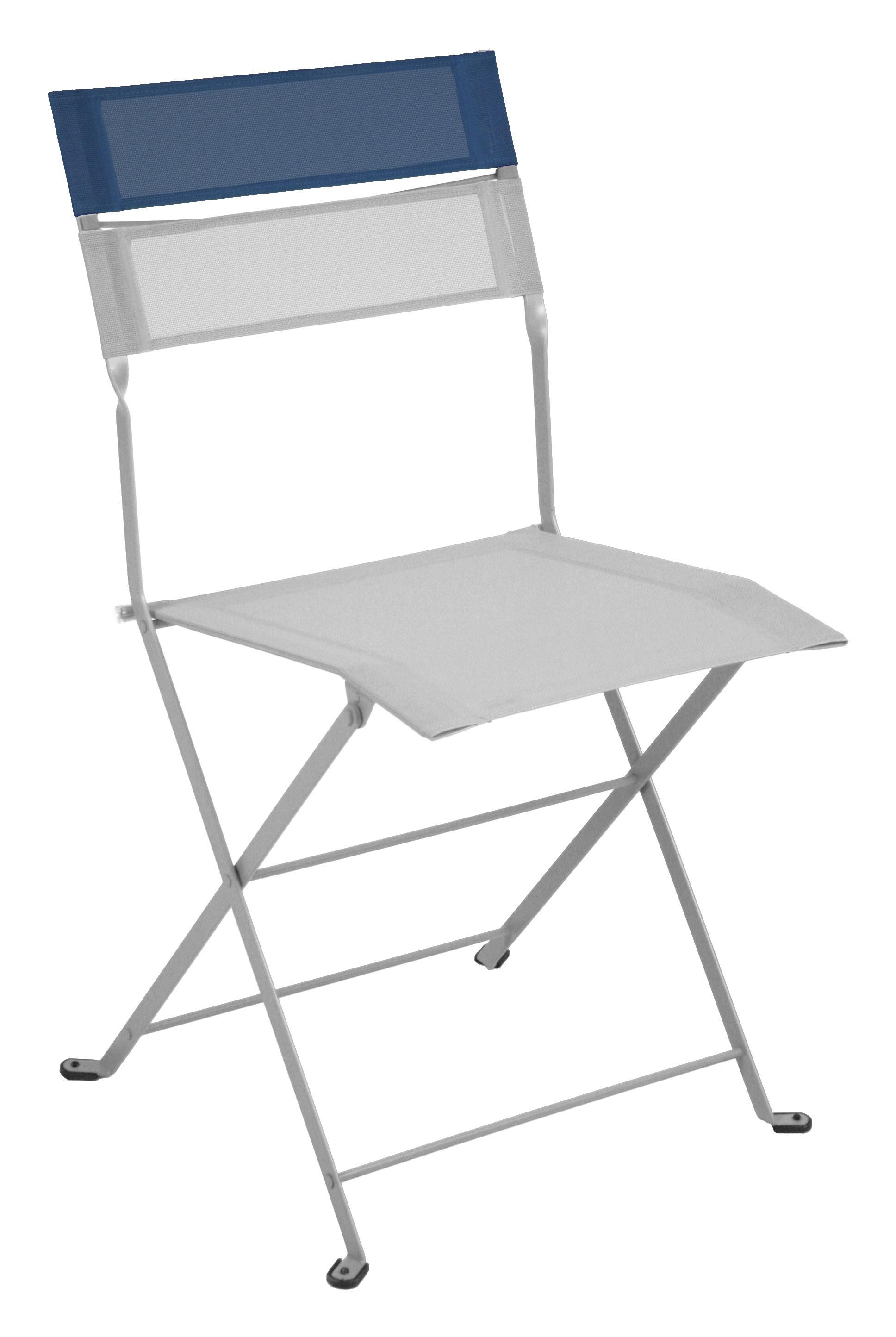 Chaise pliante latitude toile gris m tal bandeau bleu - Chaise pliante toile ...