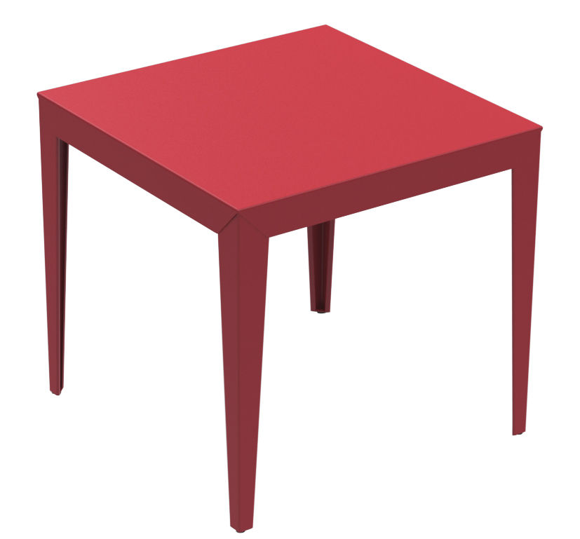 Table zef 80 x 80 cm rouge mati re grise for Table design 80 cm