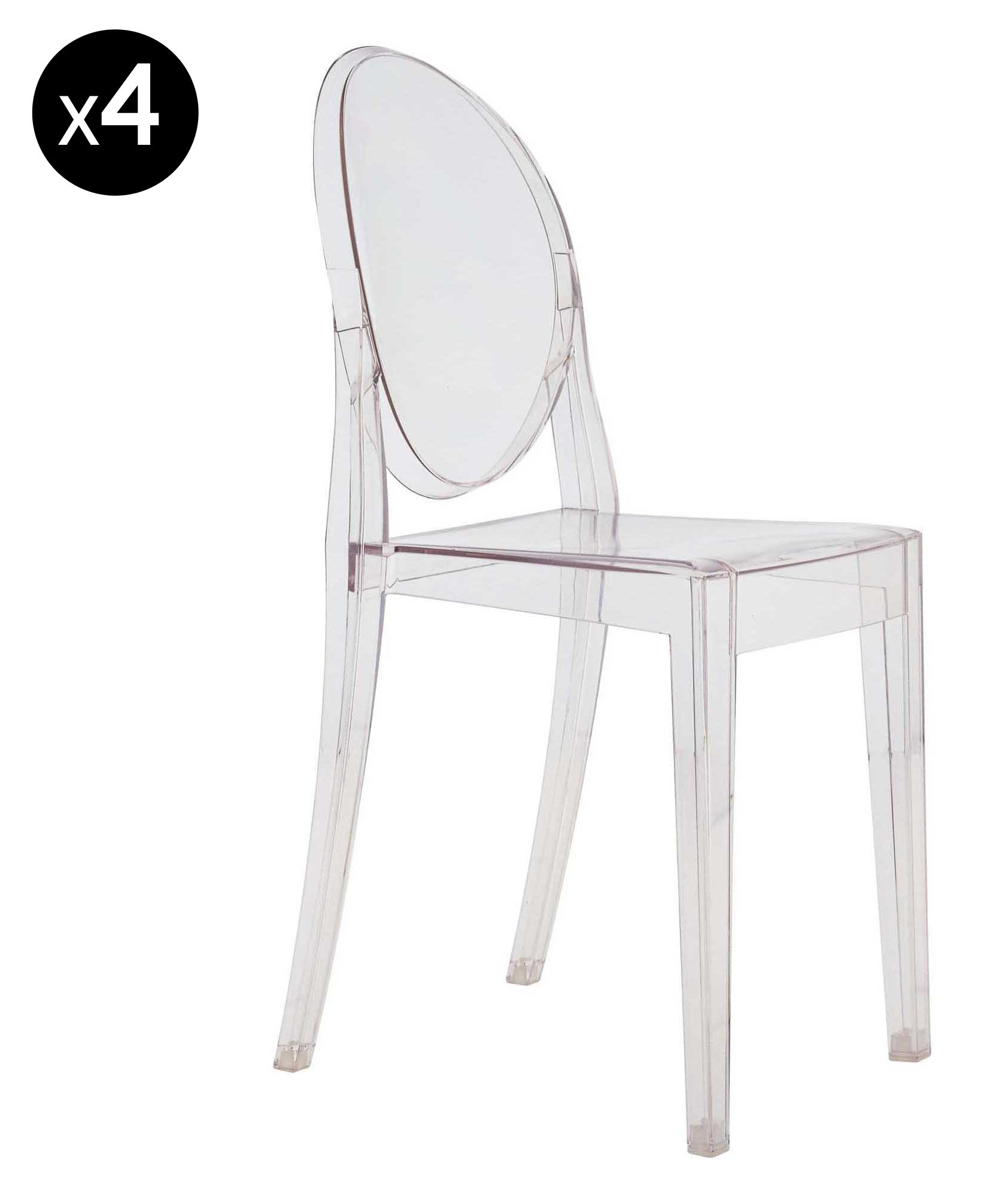 Chaise empilable Victoria Ghost / Lot de 4 Cristal - Kartell
