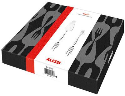 Arts de la table - Couverts de table - Set de couverts Mami Dessert / Pelle à tarte + 6 fourchettes à gateaux - Alessi - Acier poli - Acier inoxydable poli