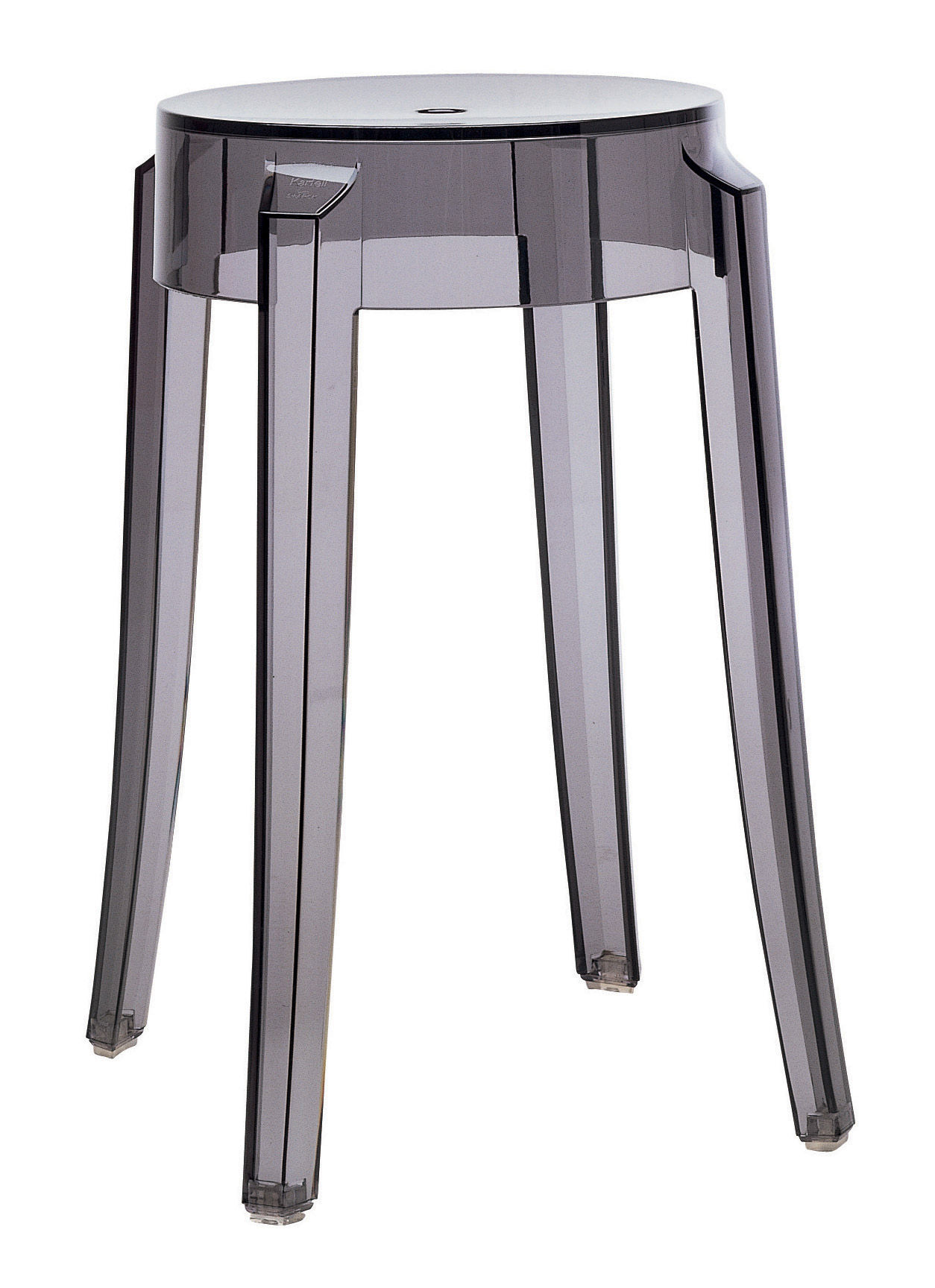 Tabouret empilable charles ghost h 46 cm plastique fum kartell - Tabouret plastique empilable ...