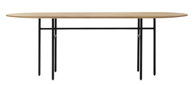 Bureau Snaregade / Ovale - 210 x 95 cm - Menu noir,chêne naturel en métal