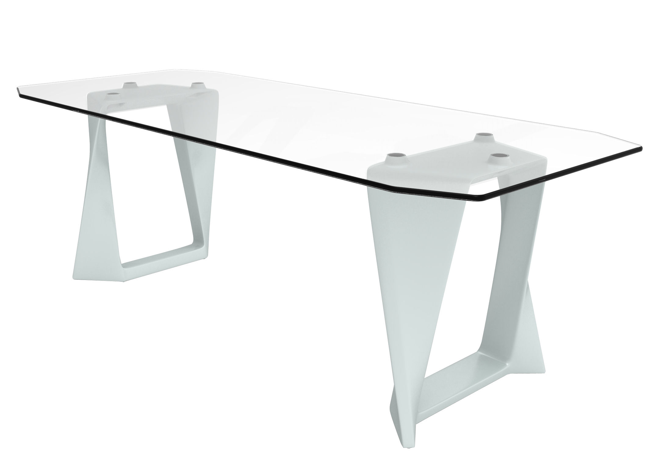 table iso verre l 220 cm blanc qui est paul made in design. Black Bedroom Furniture Sets. Home Design Ideas