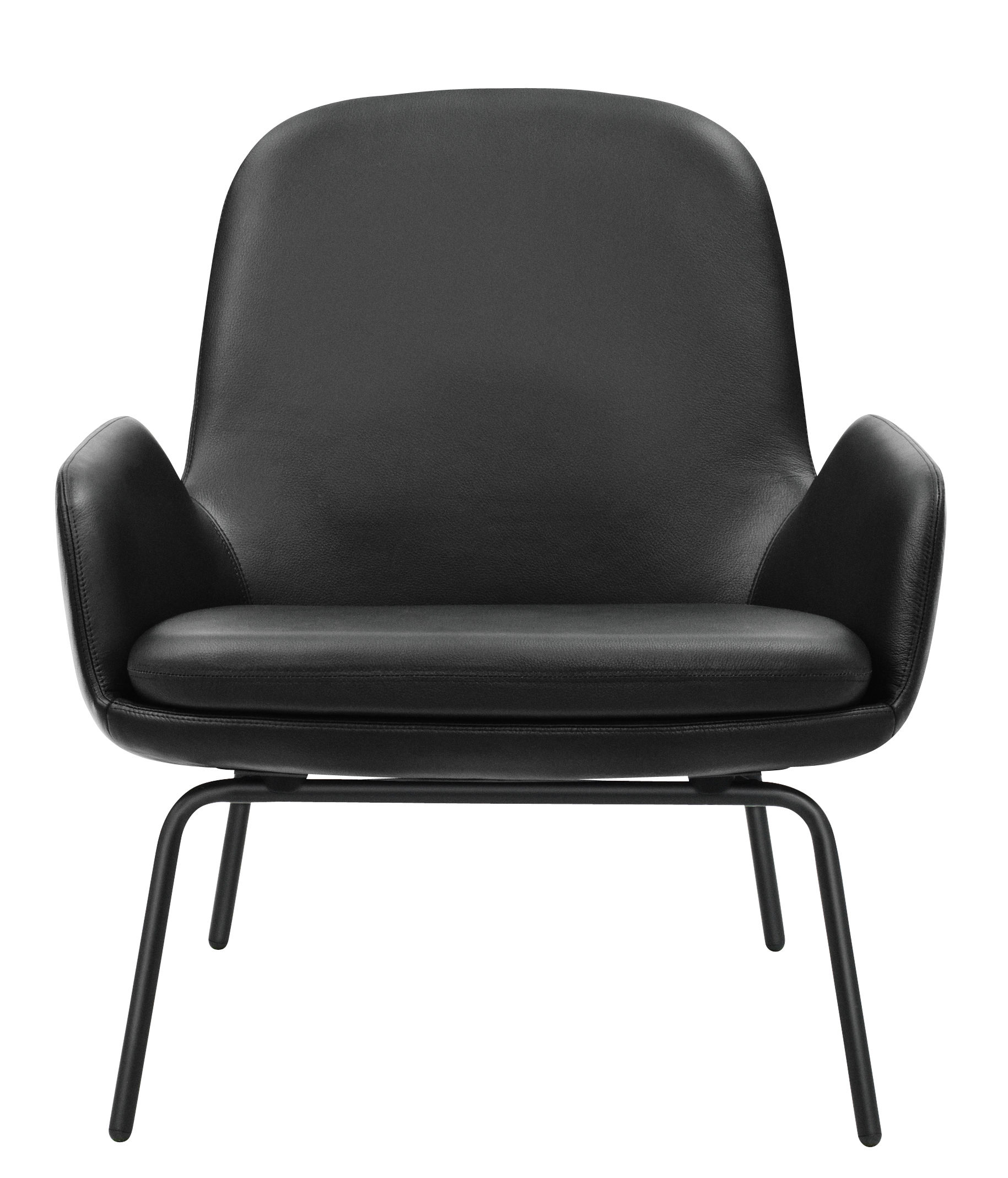 fauteuil era dossier bas cuir m tal cuir noir pieds noirs normann copenhagen. Black Bedroom Furniture Sets. Home Design Ideas
