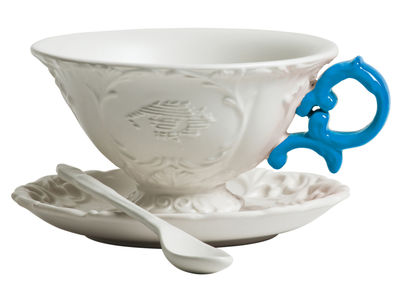 Tasse à thé I-Tea / Set tasse + soucoupe + cuillère - Seletti bleu clair en céramique