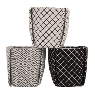 cache pot large tissu 14 5 x h 15 5 cm fond blanc. Black Bedroom Furniture Sets. Home Design Ideas
