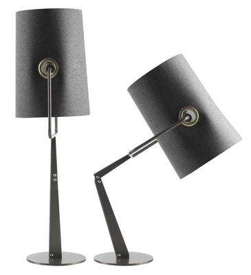 Lighting - Table Lamps - Fork Table lamp by Diesel with Foscarini - Grey / Brown base - Anodized metal, Fabric