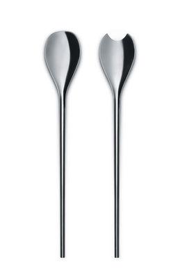 Couverts à salade Human Collection / Par Bruno Moretti et Guy Savoy - Alessi acier brillant en métal