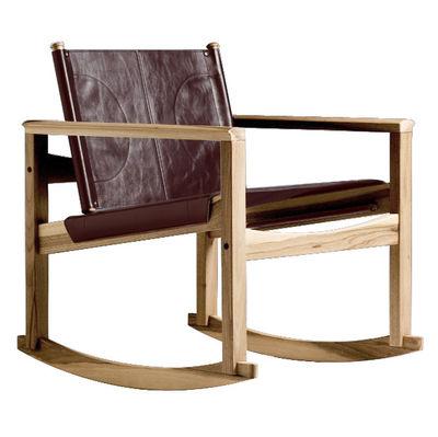 Foto Rocking chair Peglev di Objekto - Legno chiaro,Marrone medio - Pelle