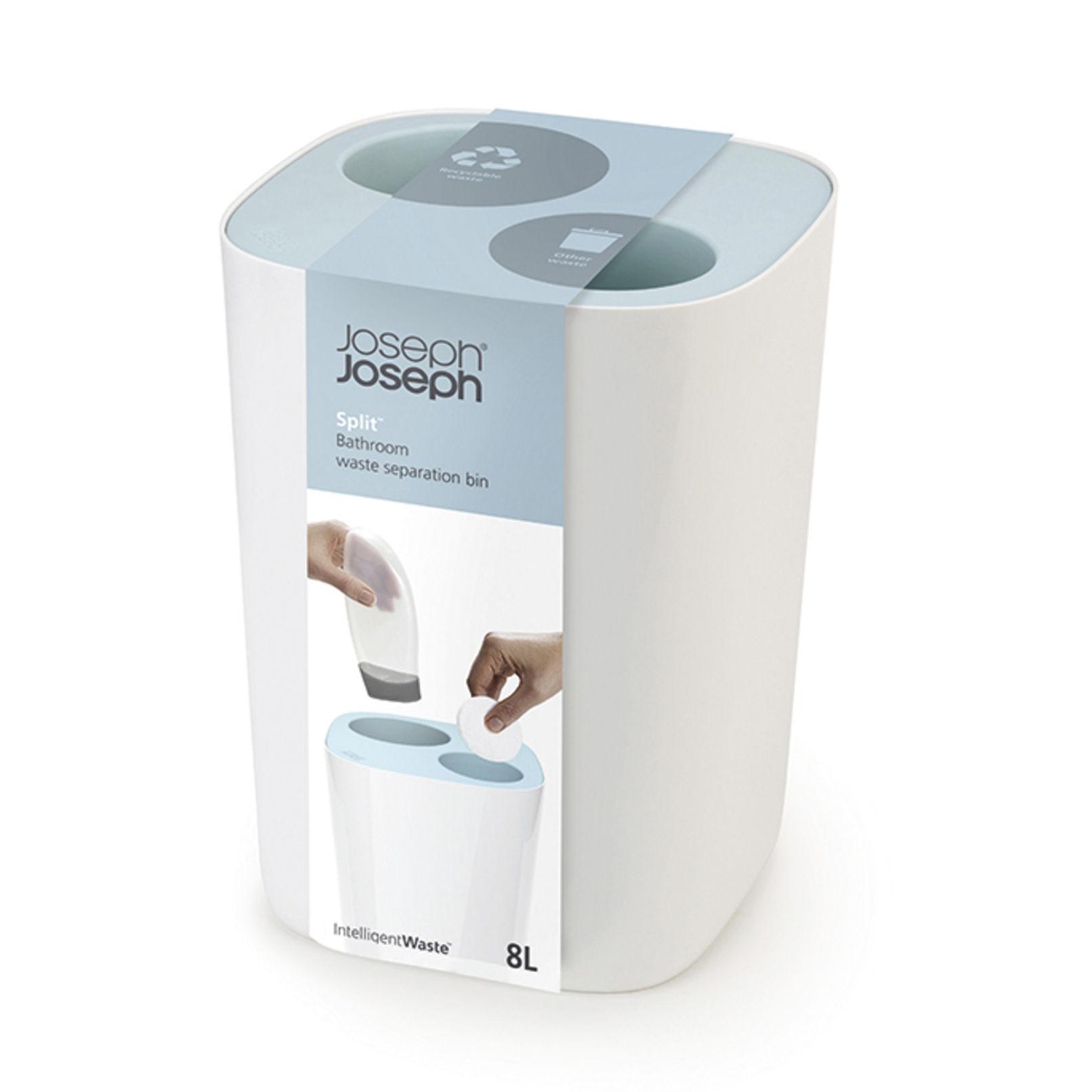 poubelle de tri split pour salle de bains 8 l bleu blanc joseph joseph. Black Bedroom Furniture Sets. Home Design Ideas