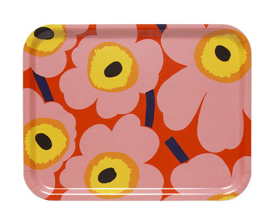 Plateau Pieni Unikko / 43 x 33 cm - Marimekko rose,jaune,orange en bois