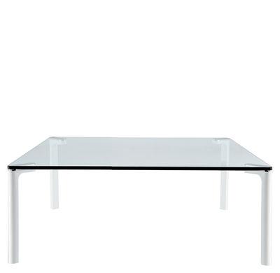 Mobilier - Tables basses - Table basse Spillino H 42 cm - 110 x 110 cm - Zanotta - Plateau transparent / Pieds vernis blancs - 110 x 110 cm - Aluminium, Verre trempé