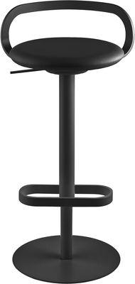 Mobilier - Tabourets de bar - Tabouret haut réglable Mak / Pivotant - Assise rembourrée Cuir - Lapalma - Assise cuir noir / Structure noire - Acier inoxydable laqué, Cuir