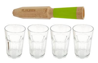 Verre We are mojito 4 en 1 4 verres Coffret cadeau Cookut vert,transparent,bois naturel en verre