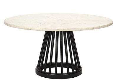 Tavolino Fan - / Ø 90 cm di Tom Dixon - Bianco,Nero - Legno