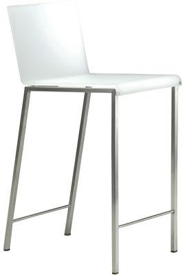 Mobilier - Tabourets de bar - Chaise de bar Bianco Mat / H 64 cm - Zeus - Blanc mat / Pieds acier - H assise 64 cm - Acier sablé, Résine acrylique