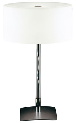 Lighting - Table lamps - Drum Table lamp by Fontana Arte - H 37 cm - Glass, Polished steel