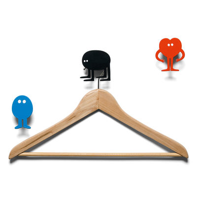 Furniture - Coat Racks & Pegs - Hang on to yourself Hook - 3 coat-pegs by Domestic - Black, blue & red - Lacquered aluminium