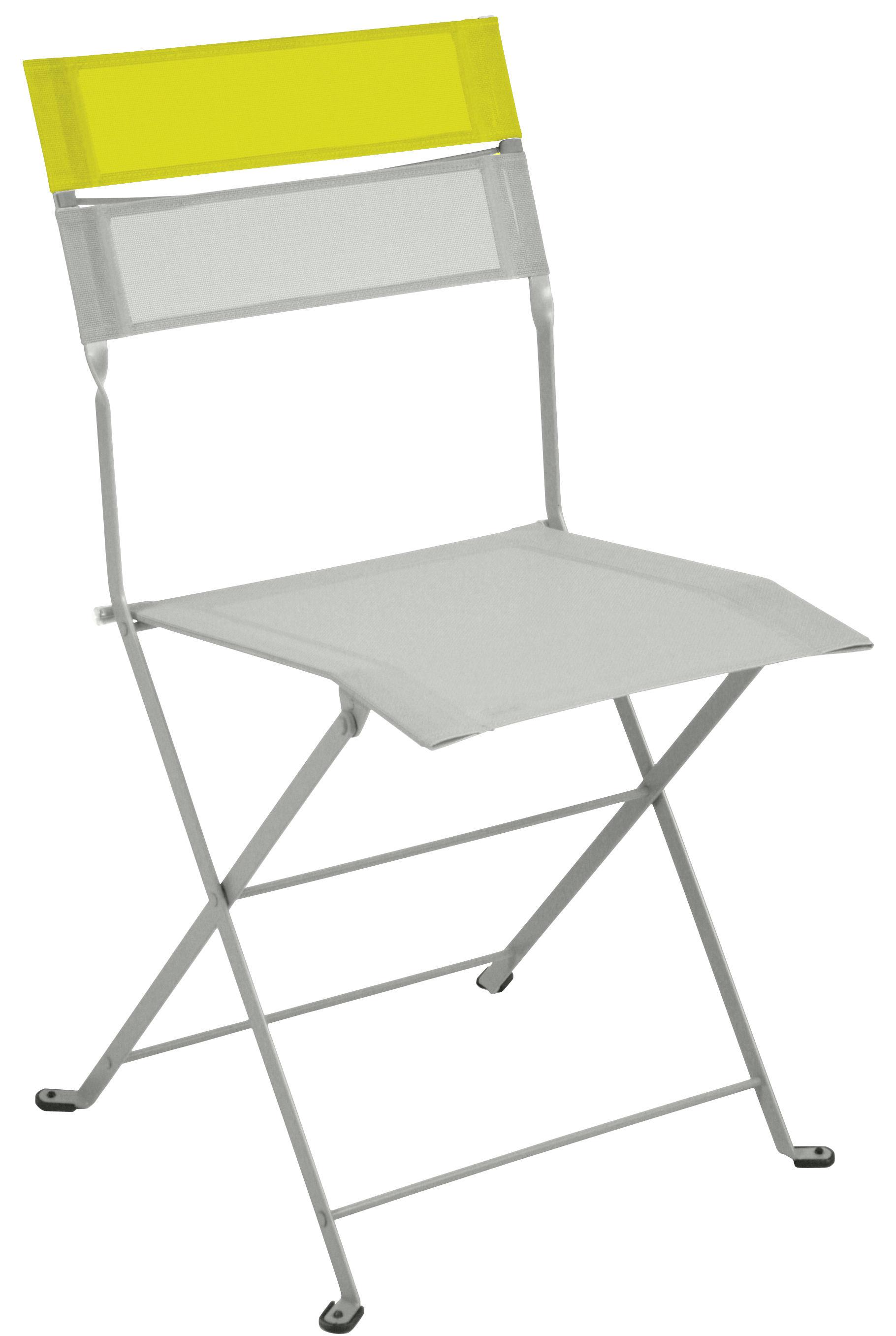 chaise pliante latitude toile structure gris m tal bandeau verveine fermob. Black Bedroom Furniture Sets. Home Design Ideas