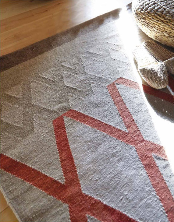 Tapis sioux kilim 170 x 240 cm reversible blanc motifs orange gan - Made in design tapis ...
