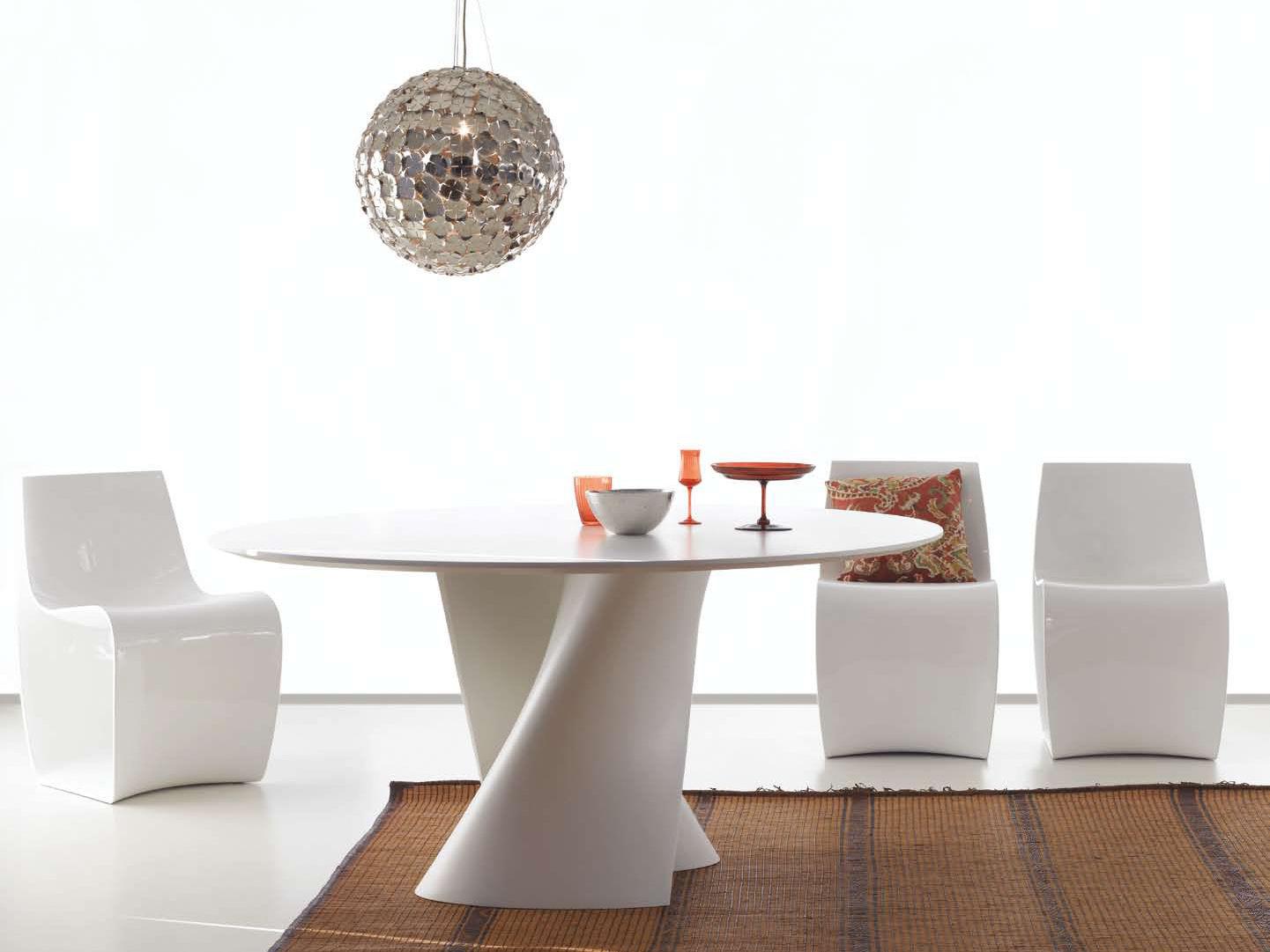 Table s 140 cm plateau cristalplant blanc mdf italia for Tavoli design famosi