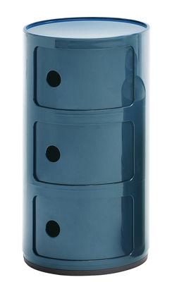 Rangement Componibili 3 tiroirs H 58 cm Kartell bleu pétrole en matière plastique