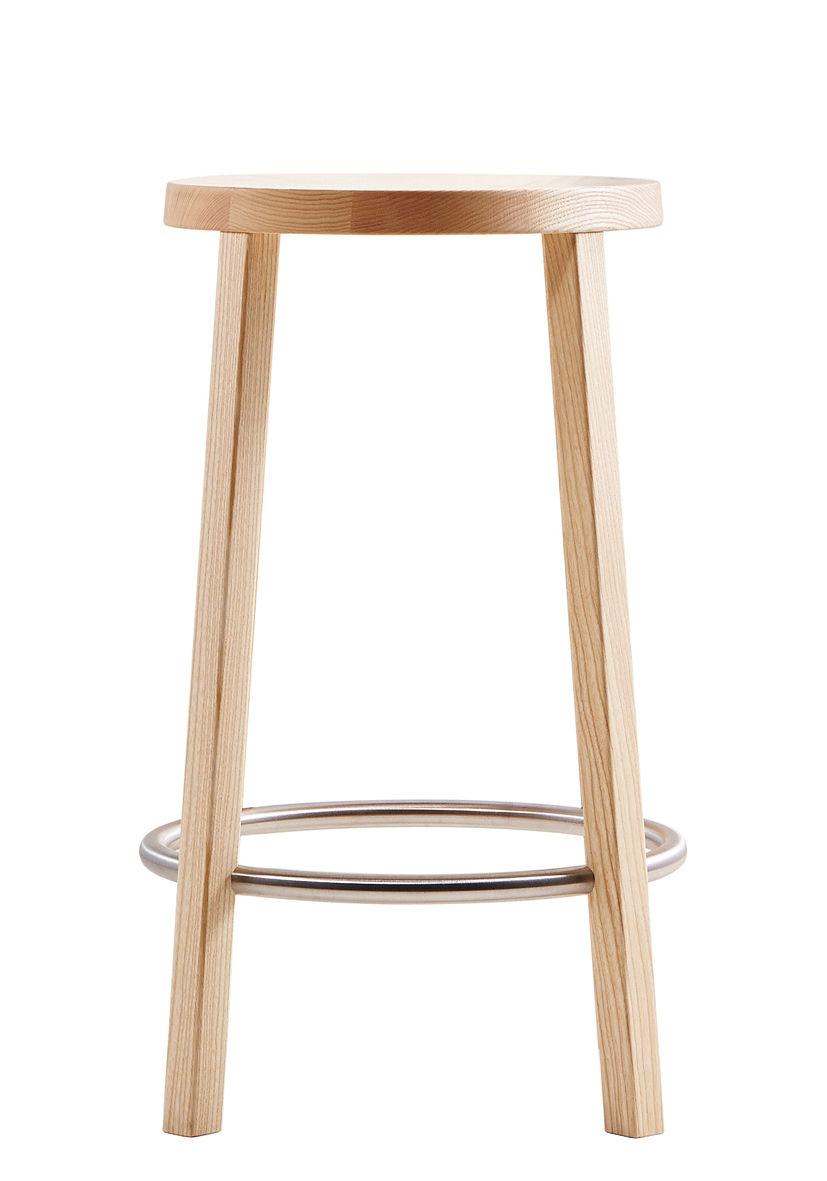 tabouret de bar blocco bois h 63 cm fr ne naturel plank made in design. Black Bedroom Furniture Sets. Home Design Ideas