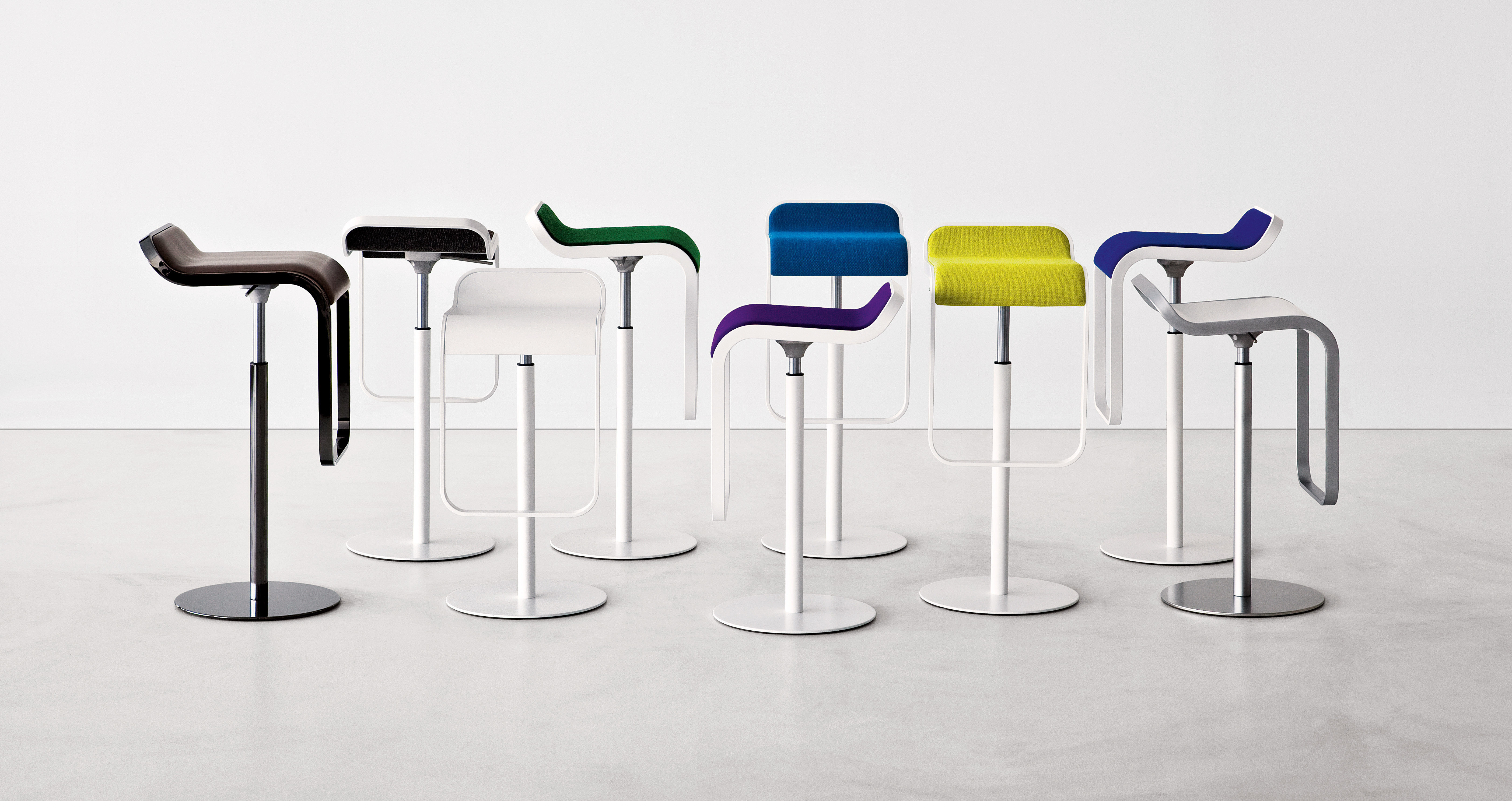 Lem Adjustable Bar Stool Fabric Pivoting Seat Lacquered