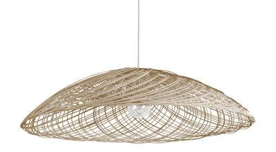 Luminaire - Suspensions - Suspension Satélise M / Rotin - Ø 60 cm - Forestier - Naturel - Rotin, Tissu
