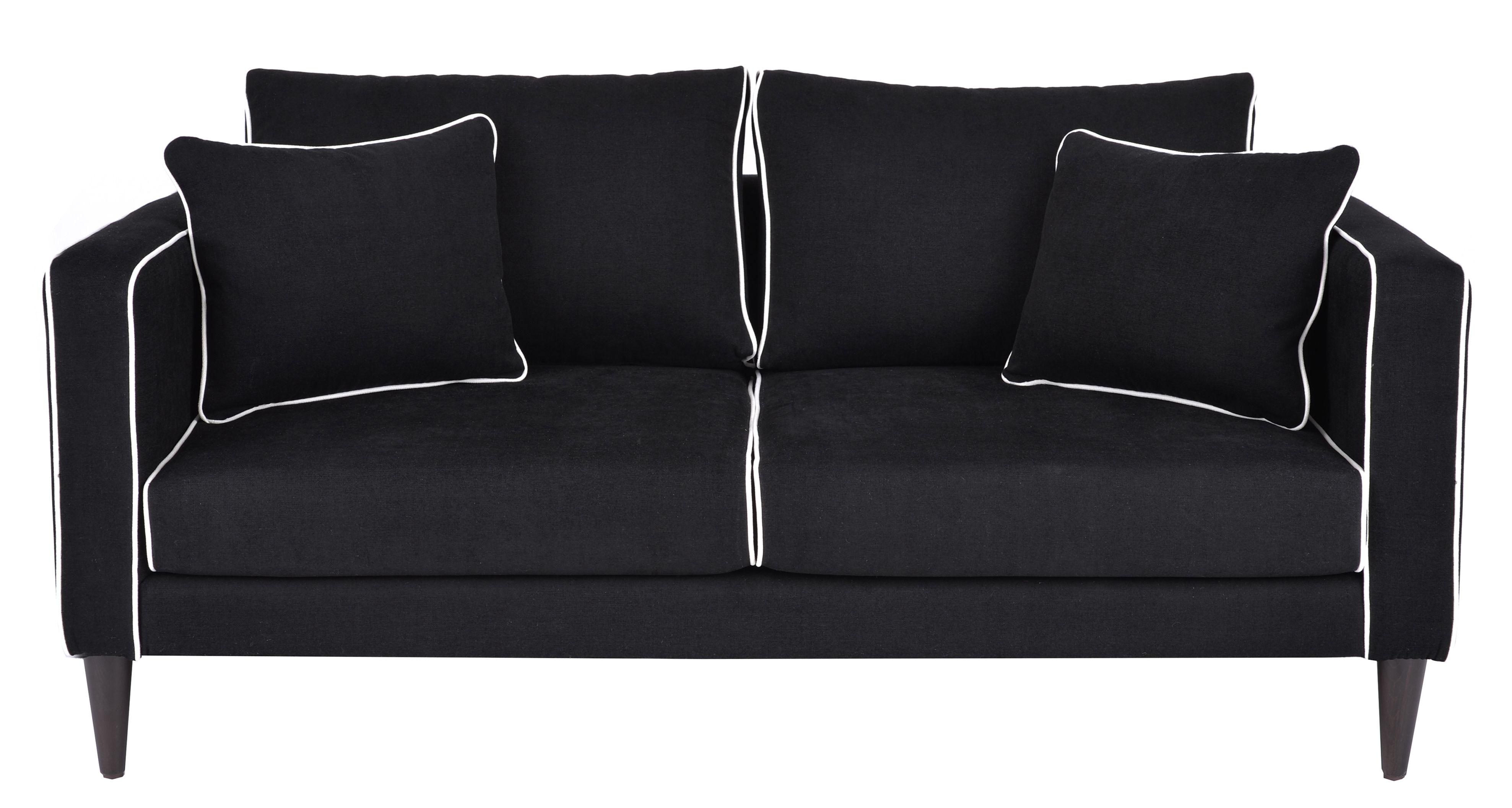 canap droit noa 2 places l 160 cm noir passepoil blanc maison sarah lavoine. Black Bedroom Furniture Sets. Home Design Ideas