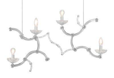 Luminaire - Suspensions - Suspension Ghebo / Verre & Métal - L 83 x H 50 cm - Karman - Blanc - Métal, Verre