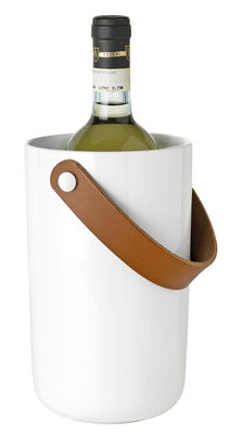 Tableware - Kitchen Accessories - Glacier Bottle cooler - Stoneware & leather by Stelton - White / Brown leather - Enamelled sandstone, Leather