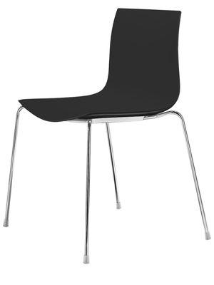 Mobilier - Chaises, fauteuils de salle à manger - Chaise empilable Catifa 46 / Coque unie - Arper - Noir - Acier chromé, Polypropylène