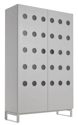 Mobilier - Commodes, buffets & armoires - Armoire Moony / Eclairage LED - L 128 x H 208 cm - Horm - Blanc - Hêtre blanchi, Métal laqué, Méthacrylate