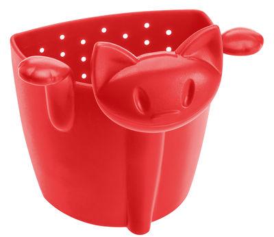 Passoire à thé Miaou - Koziol rouge en matière plastique